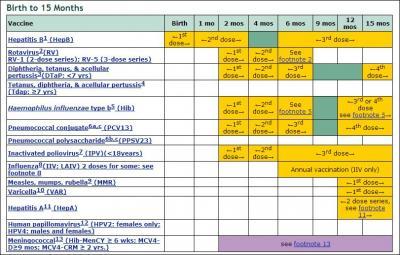 Image of immunization calendar