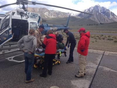Aid to an injured trail maintenance crew member