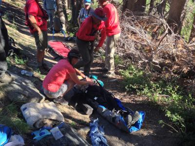 Aid to injured backcountry pack riders