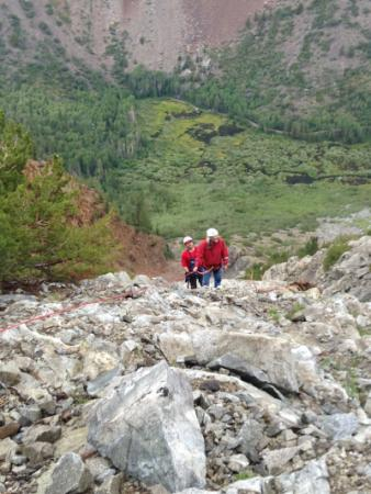 Aid to two stranded hikers in Lundy Canyon