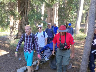 Aid to an injured hiker at Arrowhead Lake
