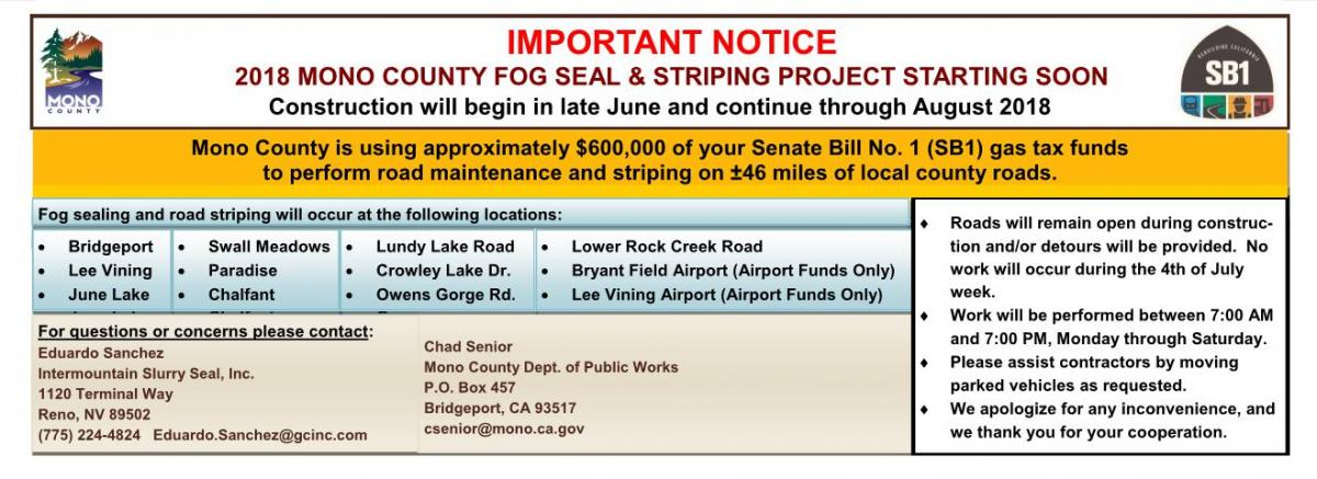 Summer 2018 County Road Maintenance Notice