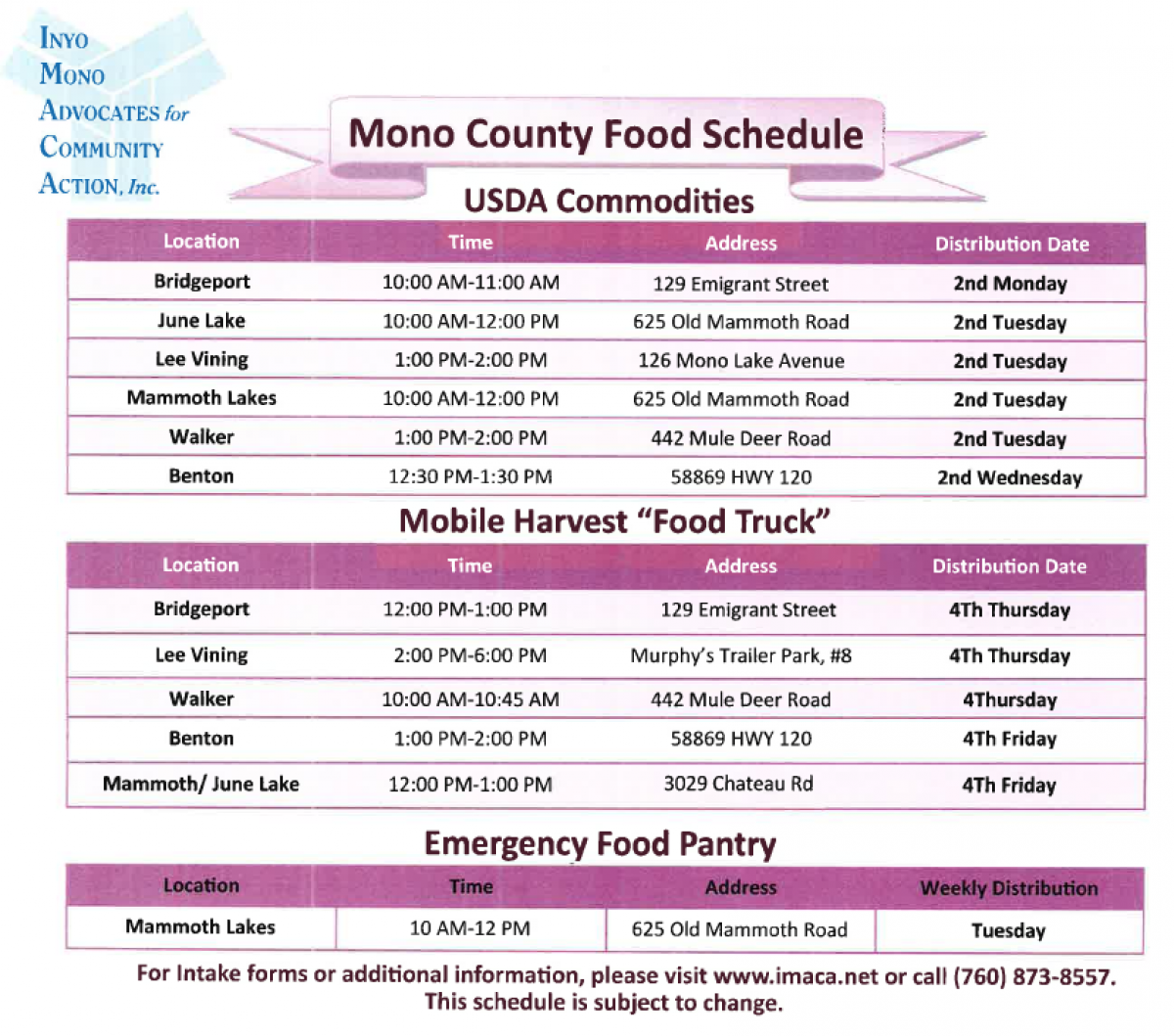 IMACA Food Distribution Calendar
